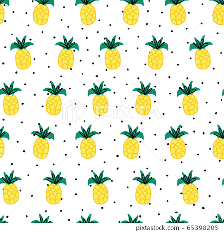 Seamless vector pattern doodle pineapples on black white spots polka dot background. Repeating 65398205