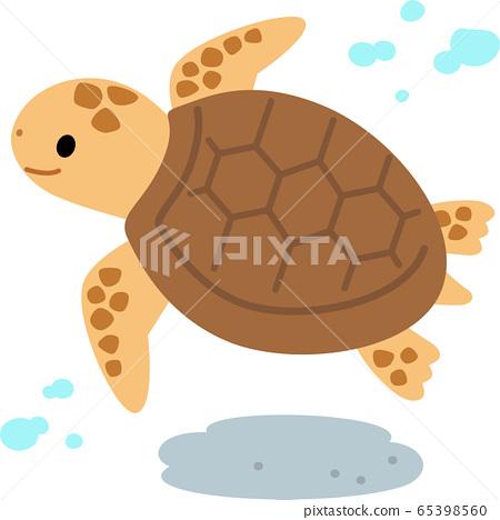 游泳的海龜在水面下 65398560