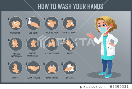 How to wash your hand, hand washing steps 65399331