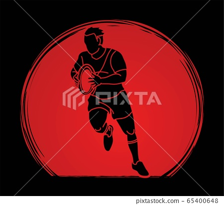 Rugby players action cartoon sport graphic vector. 65400648