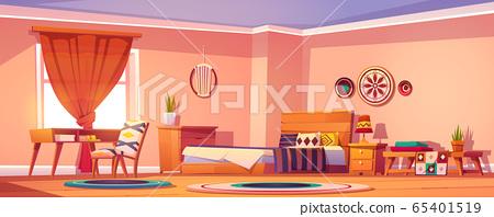 Boho, bohemian bedroom interior, empty room design 65401519