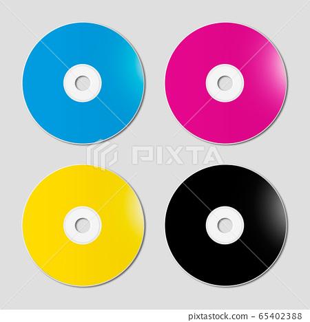 CMYK CD - DVD set on grey background 65402388