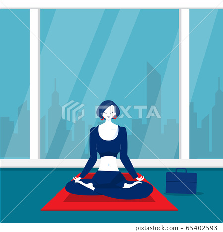 lady office happy meditation and yoga with stress and anxiety illustrator. 65402593