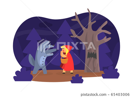 Red Hood Fairy Tale Show Scene, Children Kids Actors Performing on Stage Vector Illustration 65403006