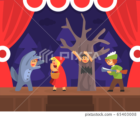 Children Theatre Performance, Kids Actors Performing Red Hood Fairy Tale Show Scene on Stage with Red Curtains Vector Illustration 65403008