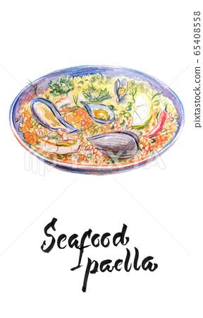 Seafood paella, watercolor illustration 65408558