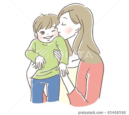 孩子和母親的吻 65408598
