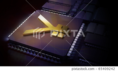The gold yuan symbol on electronic chip 3d rendering for china Digital Currency Electronic Paymentcontent. 65409242