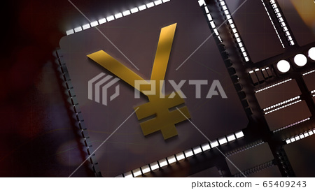 The gold yuan symbol on electronic chip 3d rendering for china Digital Currency Electronic Paymentcontent. 65409243