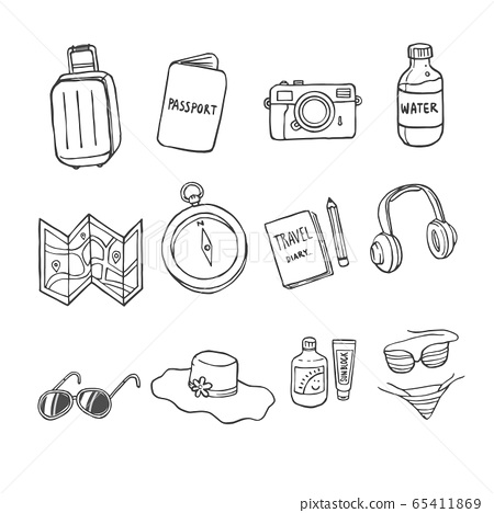 Set of Doodles Holiday,  Travel iCon. 65411869