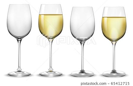 Full and empty white wine glasses. Vector 65412715