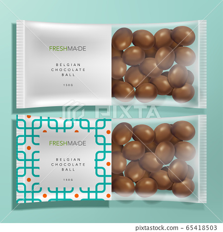 Vector Semi Transparent Food & Snack Packet Packaging with Geometric Pattern and Milk chocolate Mock Up 65418503
