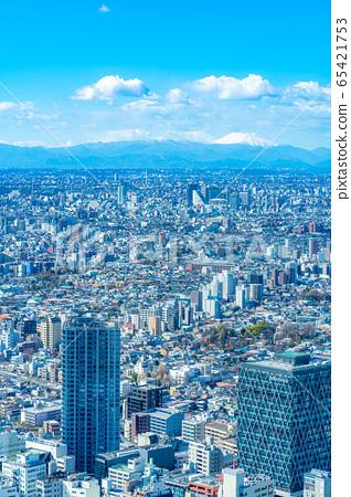 도시 풍경 선샤인 시티 60 전망대에서 본 관동 평야 후지산 【도쿄】 65421753