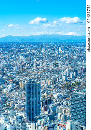 도시 풍경 선샤인 시티 60 전망대에서 본 관동 평야 후지산 【도쿄】 65421756