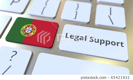 Legal Support text and flag of Portugal on the computer keyboard. Online legal service related 3D rendering 65421932