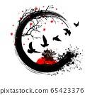 Grunge birds fly background 65423376