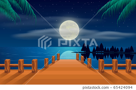 landscape of wooden bridge on the beach in the moon night 65424094