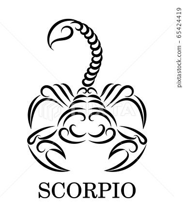 Black line vector logo of a scorpion. It is sign of scorpio zodiac. 65424419