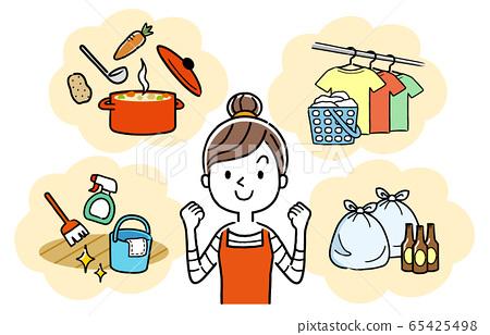 插圖:家庭主婦,做家務的婦女 65425498