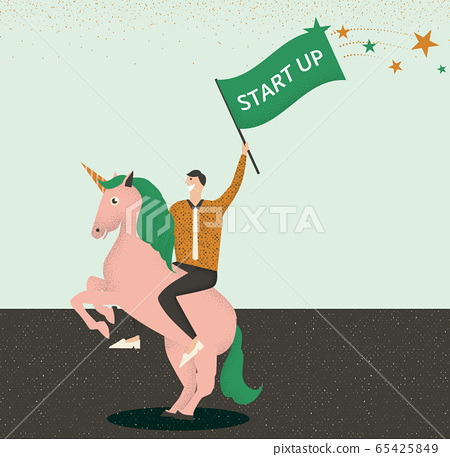 Businessman riding a unicorn with start up flag in his hand 65425849