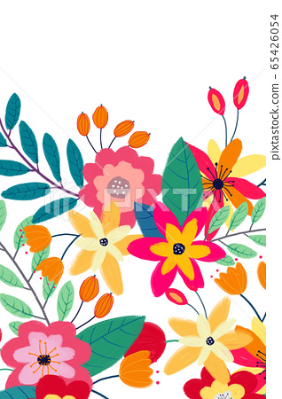 抽像美麗的玫瑰花花卉插畫 65426054