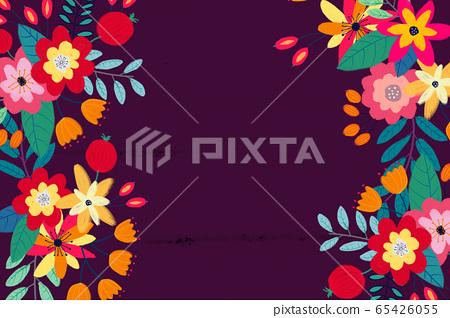 抽像美麗的玫瑰花花卉插畫 65426055