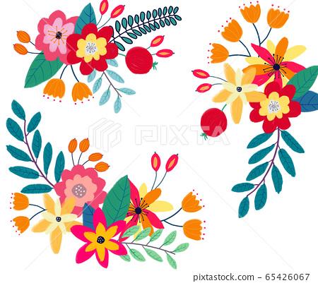抽像美麗的玫瑰花花卉插畫 65426067