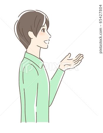 웃는 얼굴로 손을 내미는 남자의 옆모습 65427804