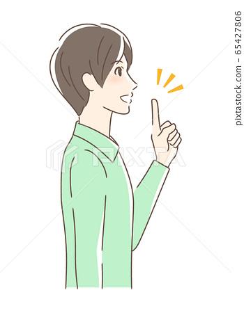 웃는 얼굴로 손가락을 가리키는 남자의 옆모습 65427806