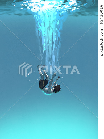 Alone falling man in the blue sea 65430016