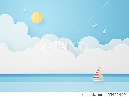 종이 공예 - 하늘 - 구름 - 바다 - 요트 65431409