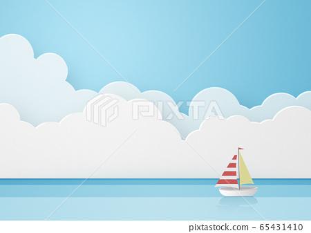 종이 공예 - 하늘 - 구름 - 바다 - 요트 65431410