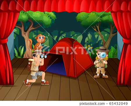 Camping drama the explorer on the stage 65432049
