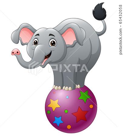 Cartoon circus elephant balancing on ball 65432058