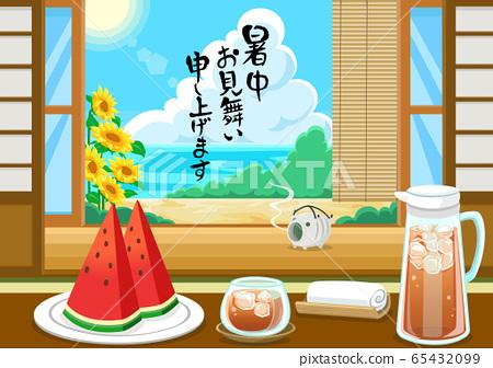 서중 문안 템플릿 / 여름의 풍물 수박 보리차 65432099