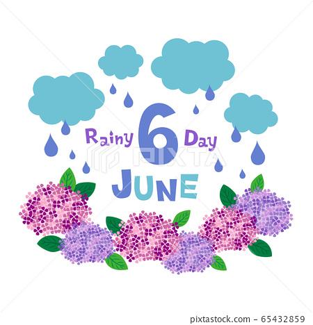 6月的繡球花和雨的插圖 65432859