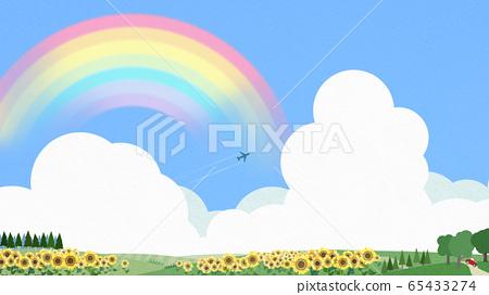 背景藍色天空夏天向日葵 65433274