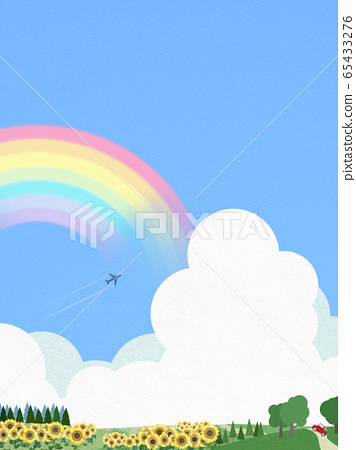 背景藍色天空夏天向日葵 65433276
