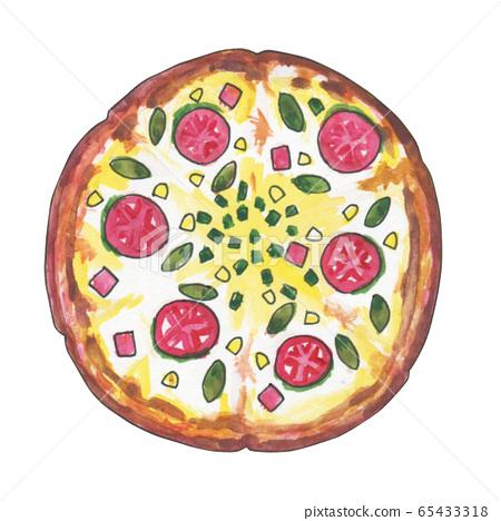 Pizza watercolor illustration material 65433318