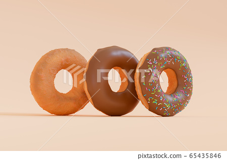 3D Render - Donuts stacked in different styles viewed at an oblique angle. Deep fried doughnuts without topping. Chocolate donuts with icing sprinkle on top. Donuts making process. 65435846