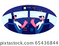 Smiling Pilots Wearing Headset or Headphones and Uniform Sitting in Chairs in Cabin of Plane at Airport. Aviators Male Characters 65436844