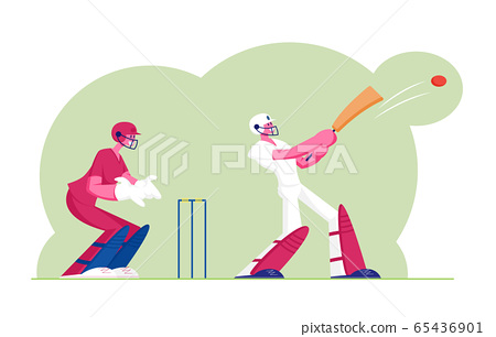 Cricket Tournament Concept. Batsman in Professional Uniform Hitting Ball with Bat, Sportsmen Playing Traditional Game, Sports Championship Event, Outdoors Activity. Cartoon Flat Vector Illustration 65436901