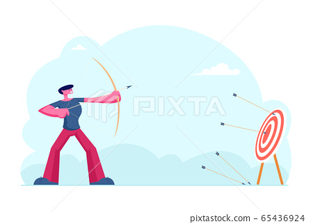 Business Strategy and Goals Achievement Concept. Businessman Archer Shooting to Huge Target Holding Bow with Arrow. Aims Mission Opportunity Challenge Task Solution Cartoon Flat Vector Illustration 65436924