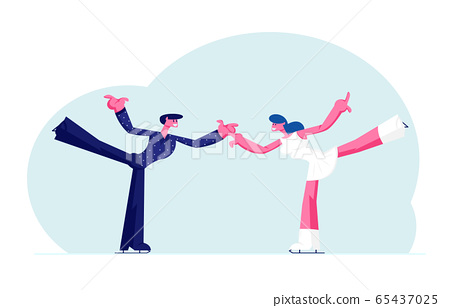 Figure Skating Winter Sport Activity. Couple of Young Skaters Man and Woman in Festive Dressing Holding Hands with Leg Up Dancing on Ice Rink at Skating Competition. Cartoon Flat Vector Illustration 65437025