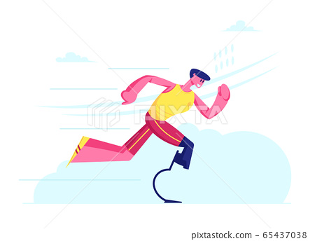 Disabled Athlete Run Training, Sportsman with Bionic Leg Prosthesis Jogging, Post-Accident Recovery, Rehabilitation Exercises. Young Amputee Man Running Outdoors. Cartoon Flat Vector Illustration 65437038