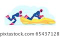 Wintertime Sledding Sport. Men Bobsleigh Team Pushing Bob and Sliding Downhills during Winter Olympics Games Competition. World Cup Race International Championship Cartoon Flat Vector Illustration 65437128
