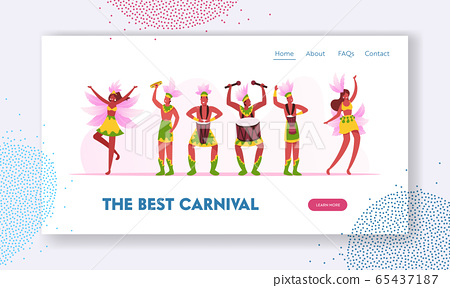 Rio Carnival Musicians Band and Girls Dancers Website Landing Page. Young Men Artists Playing Drums, Women Dance  65437187