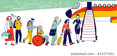 People Stand in Queue on Plane in Airport. Characters Boarding on Airplane. Travelers Going to Aircraft, Passengers 65437301