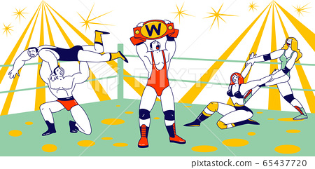 Male and Female Characters Fighting on Wrestling Competition. Men and Women Athletes Performing Sports Show 65437720