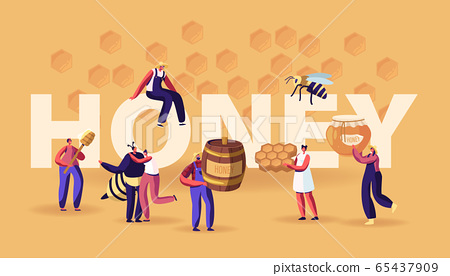Honey Concept. Characters with Honeycomb, Spoon, Jar. People Extracting and Eating Sweet Bee Production. Beekeeping Industry, Farming Poster Banner Flyer Brochure. Cartoon Flat Vector Illustration 65437909